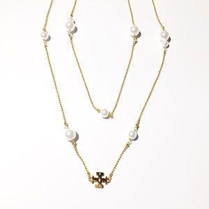 NIB Tory Burch Pearl Gold Long Necklace